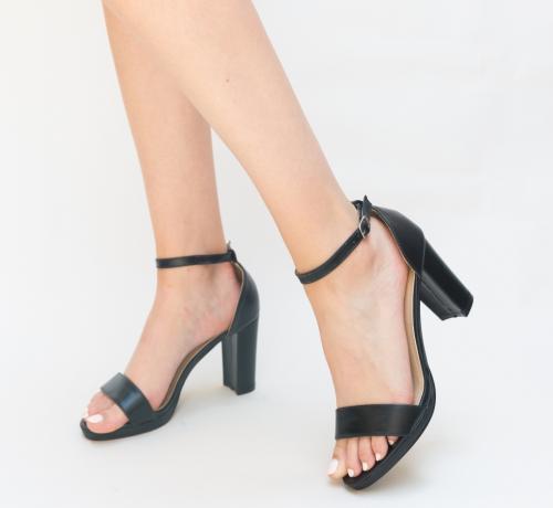Sandale Abom Negre 2 - Sandale dama ieftine - Sandale cu toc gros