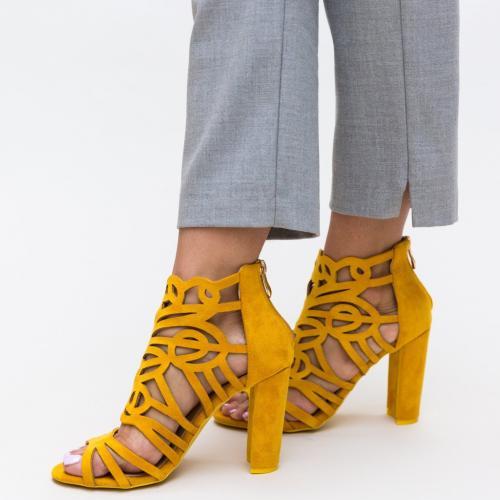 Sandale Aco Galbene - Sandale dama ieftine - Sandale cu toc gros