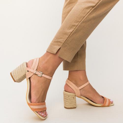 Sandale Alivia Portocalii - Sandale dama ieftine - Sandale cu toc gros