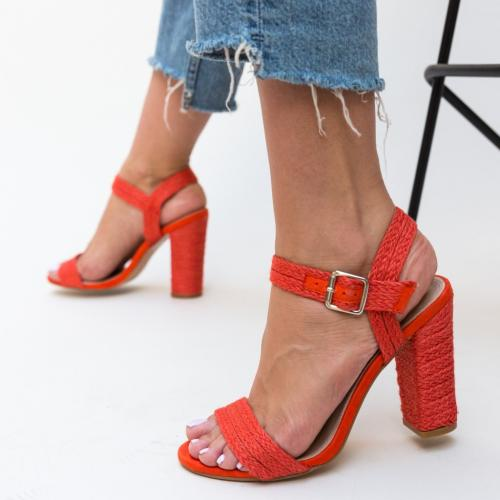 Sandale Ameera Rosii - Sandale dama ieftine - Sandale cu toc gros