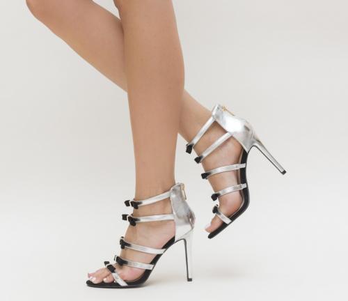 Sandale Antita Argintii - Sandale dama ieftine - Sandale cu toc subtire