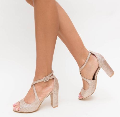 Sandale Bemec Aurii - Sandale dama ieftine - Sandale cu toc gros