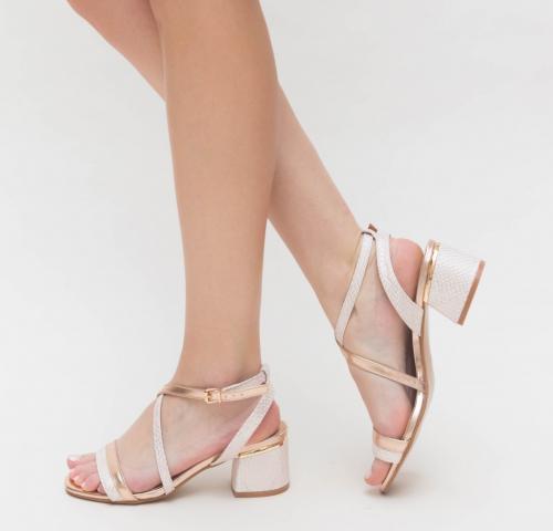 Sandale Bonita Aurii 2 - Sandale dama ieftine - Sandale cu toc gros