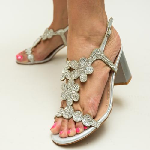 Sandale Callie Argintii - Sandale dama ieftine - Sandale cu toc mic