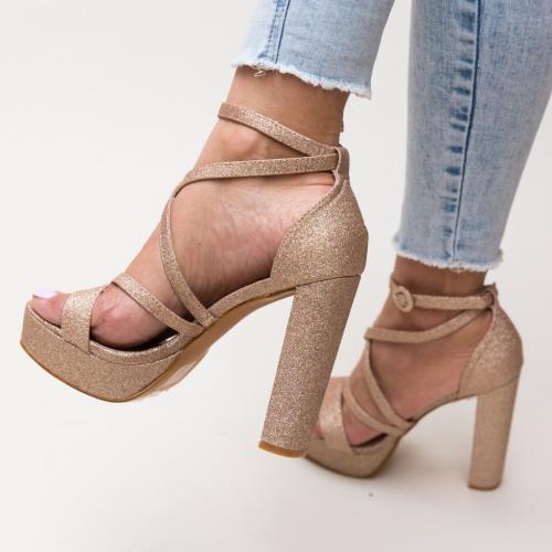 Sandale Carly Aurii - Sandale dama ieftine - Sandale cu toc si platforma