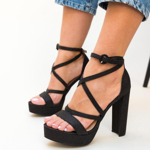 Sandale Carly Negre - Sandale dama ieftine - Sandale cu toc si platforma