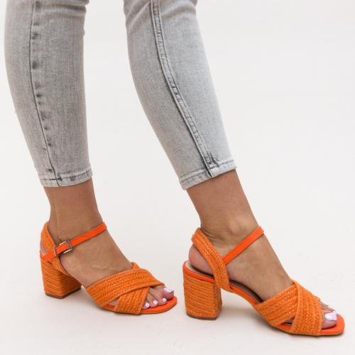 Sandale Cieran Portocalii - Sandale dama ieftine - Sandale cu toc gros