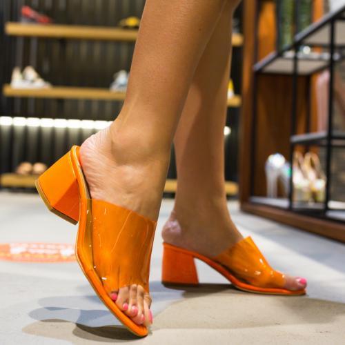 Sandale Colina Portocalii - Sandale dama ieftine - Sandale cu toc gros