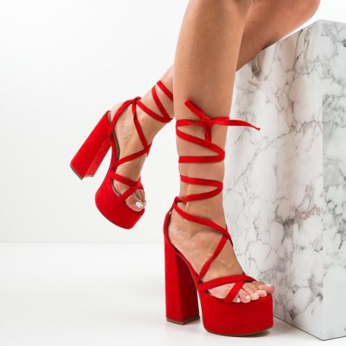 Sandale Cullen Rosii - Sandale dama ieftine - Sandale cu toc