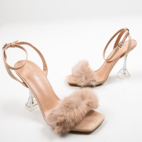 Sandale Cummi Bej - Sandale dama ieftine - Sandale cu toc