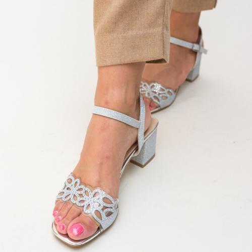 Sandale Esme Argintii - Sandale dama ieftine - Sandale cu toc mic