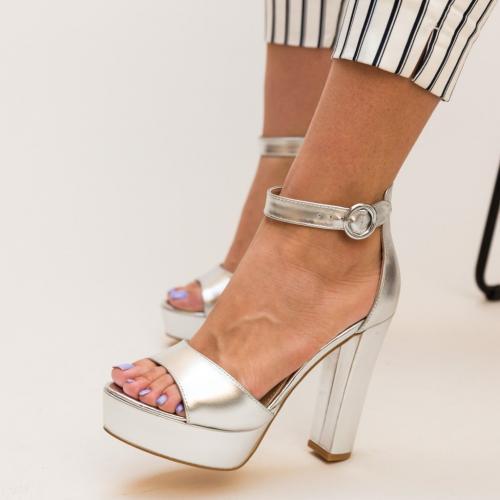 Sandale Fidelio Argintii - Sandale dama ieftine - Sandale cu toc si platforma