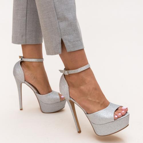 Sandale Fifion Argintii - Sandale dama ieftine - Sandale cu toc si platforma