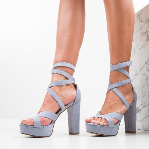 Sandale Fihe Albastre - Sandale dama ieftine - Sandale cu toc