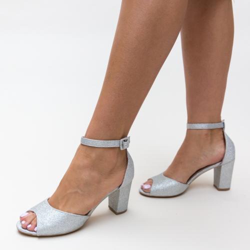 Sandale Freddy Argintii - Sandale dama ieftine - Sandale cu toc gros