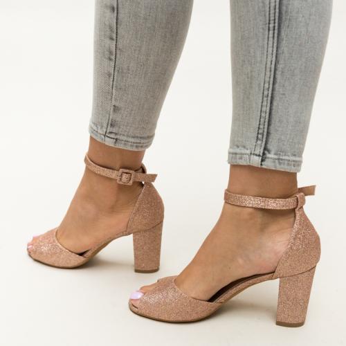 Sandale Freddy Aurii - Sandale dama ieftine - Sandale cu toc gros