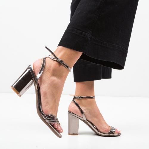 Sandale Garza Gri - Sandale dama ieftine - Sandale cu toc