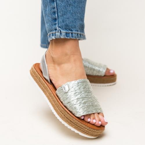 Sandale Gregos Argintii - Sandale dama ieftine - Sandale cu talpa joasa