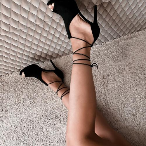 Sandale Hamilton Negre - Sandale dama ieftine - Sandale cu toc subtire
