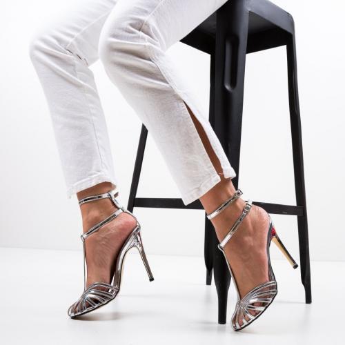 Sandale Jordanne Argintii - Sandale dama ieftine - Sandale cu toc