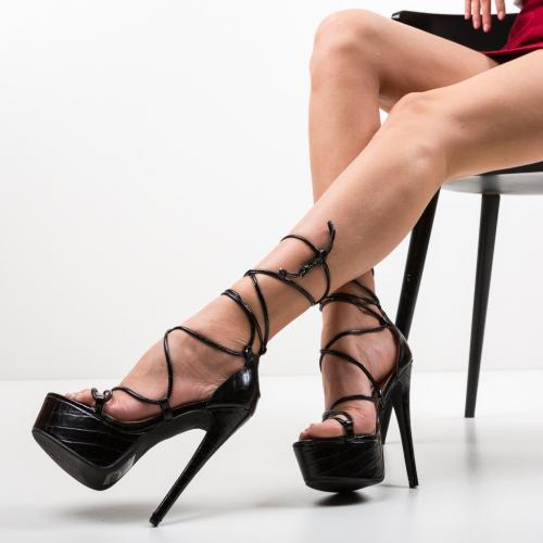 Sandale Kamila Negre - Sandale dama ieftine - Sandale cu toc