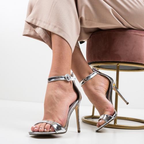 Sandale Kirby Argintii - Sandale dama ieftine - Sandale cu toc