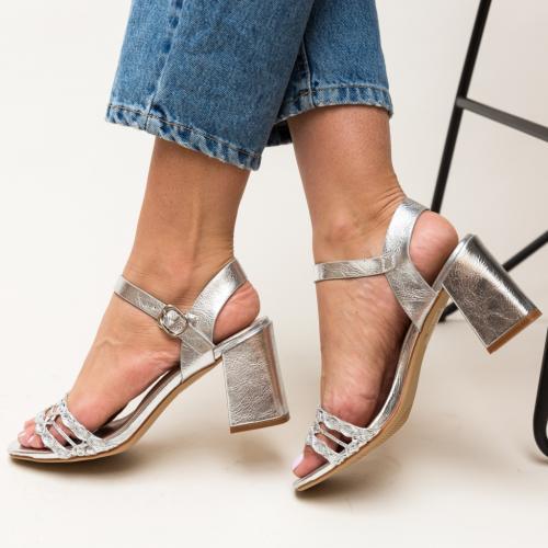 Sandale Lonar Argintii - Sandale dama ieftine - Sandale cu toc gros