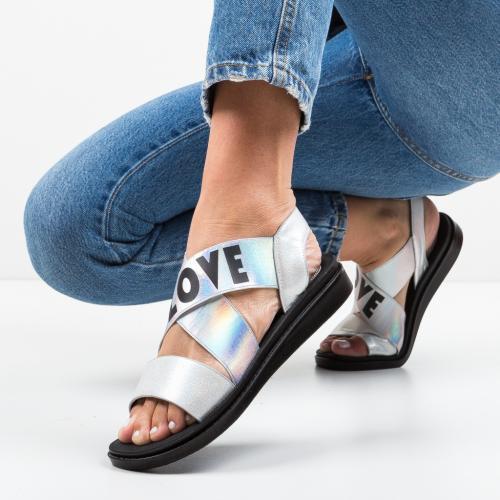 Sandale Lovers Argintii - Sandale dama ieftine - Sandale fara toc