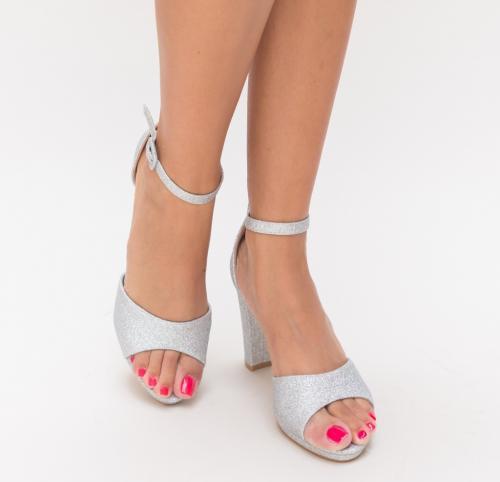 Sandale Medina Argintii - Sandale dama ieftine - Sandale cu toc