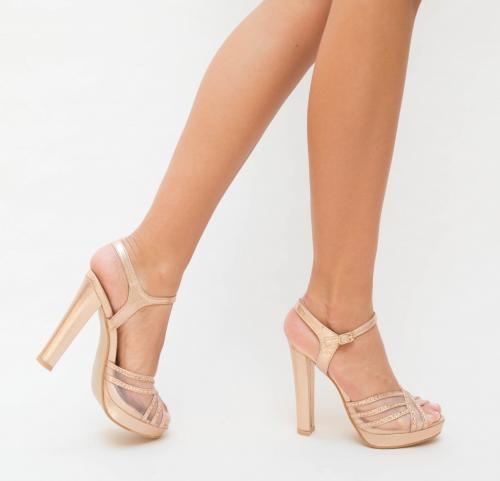Sandale Metan Aurii - Sandale dama ieftine - Sandale cu toc gros