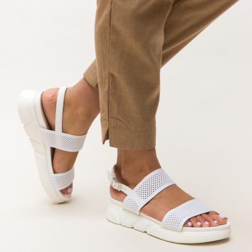 Sandale Mikel Albe - Sandale dama ieftine - Sandale cu talpa joasa