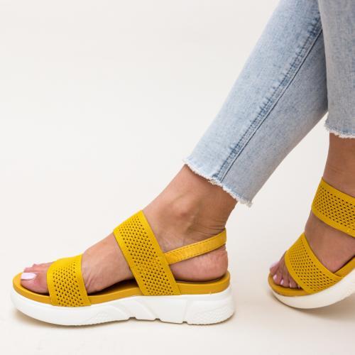 Sandale Mikel Galbene - Sandale dama ieftine - Sandale cu talpa joasa