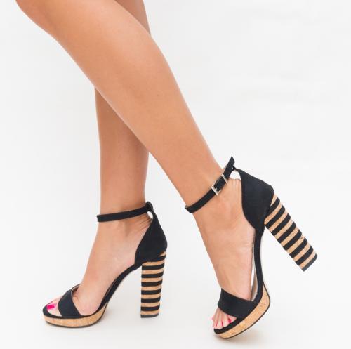 Sandale Milania Negre - Sandale dama ieftine - Sandale cu toc gros
