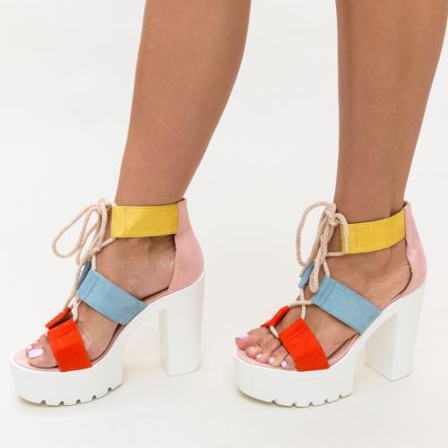 Sandale Muhamed Portocalii - Sandale dama ieftine - Sandale cu toc gros