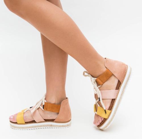 Sandale Oga Galbene - Sandale dama ieftine - Sandale cu talpa joasa