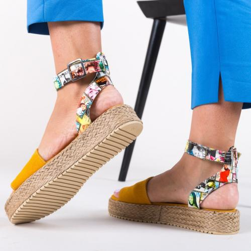 Sandale Papeer Galbene - Sandale dama ieftine - Sandale cu talpa joasa