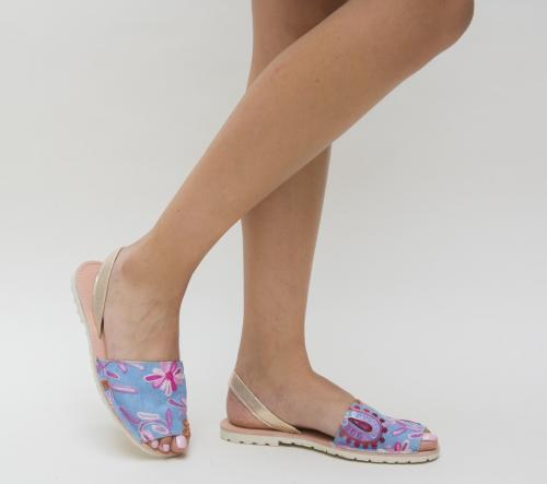 Sandale Paris Albastre - Sandale dama ieftine - Sandale cu talpa joasa
