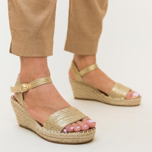 Sandale Patel Aurii - Sandale dama ieftine - Sandale cu platforma