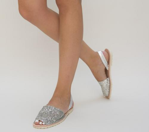 Sandale Peris Argintii 2 - Sandale dama ieftine - Sandale fara toc