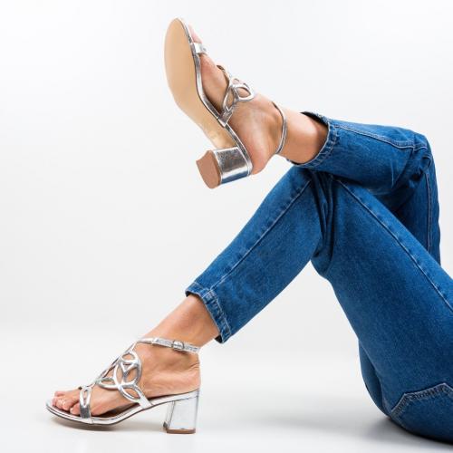 Sandale Praji Argintii - Sandale dama ieftine - Sandale cu toc