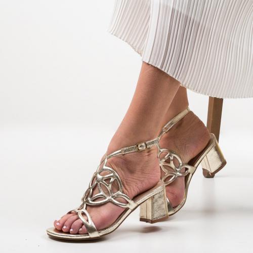 Sandale Praji Aurii 2 - Sandale dama ieftine - Sandale cu toc