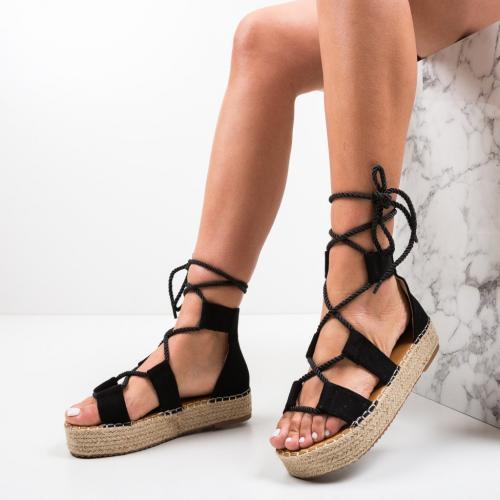 Sandale Quiero Negre - Sandale dama ieftine - Sandale fara toc