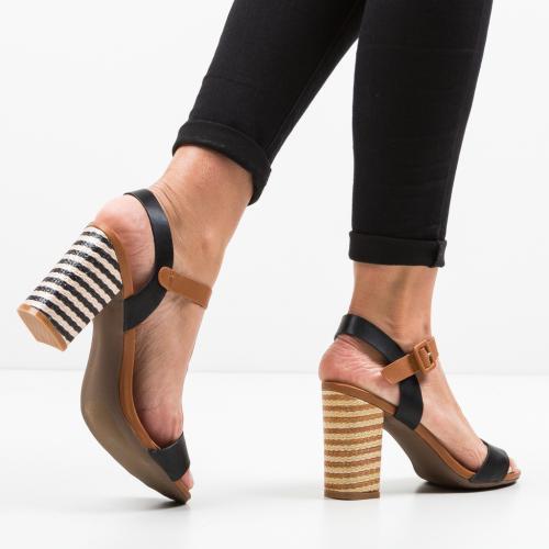 Sandale Ria Negre - Sandale dama ieftine - Sandale cu toc