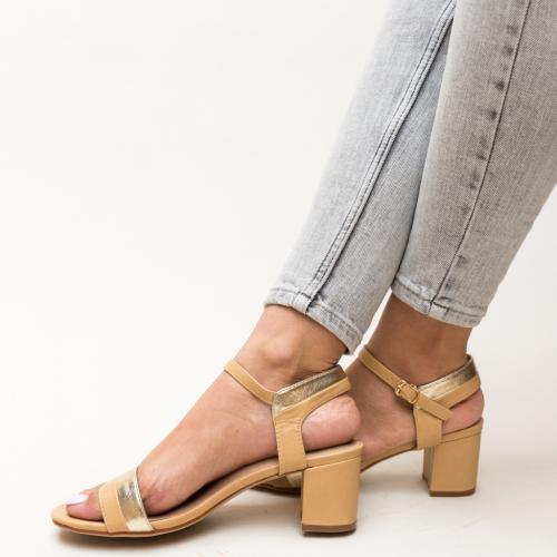 Sandale Spiriton Bej - Sandale dama ieftine - Sandale cu toc gros