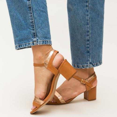 Sandale Spiriton Camel - Sandale dama ieftine - Sandale cu toc gros
