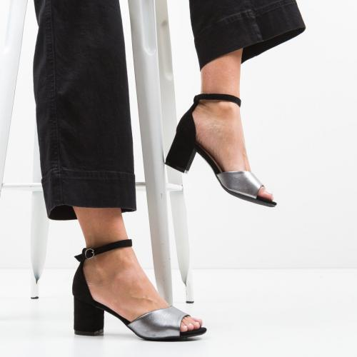 Sandale Stott Gri - Sandale dama ieftine - Sandale cu toc