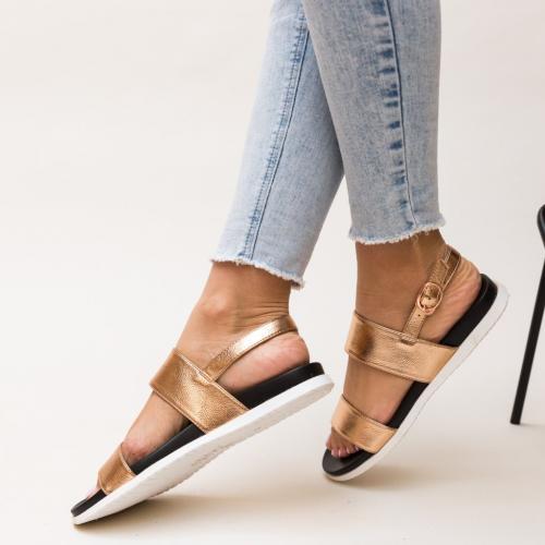 Sandale Zendaya Aurii - Sandale dama ieftine - Sandale cu talpa joasa