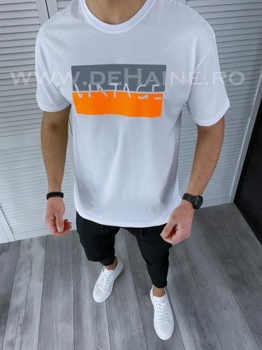 Tricou barbati alb regular fit reflectorizant B3724 49-22 - Tricouri barbati -