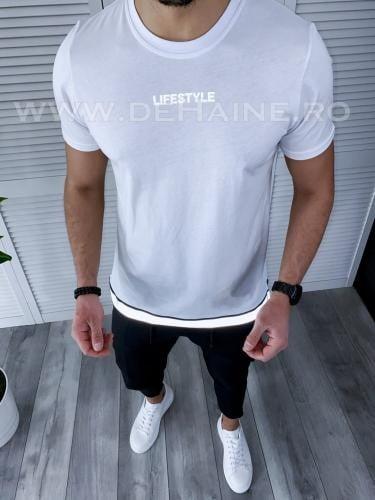 Tricou barbati alb regular fit reflectorizant B3726 49-23 - Tricouri barbati -