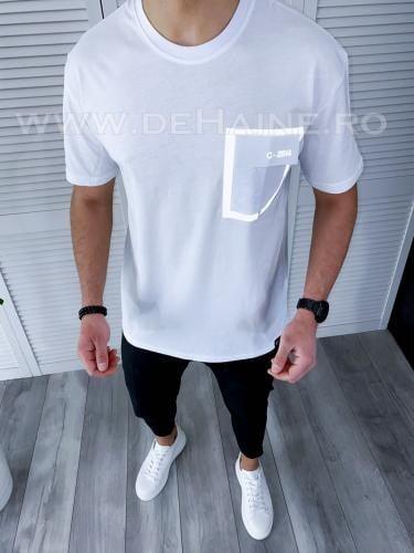 Tricou barbati alb regular fit reflectorizant B3727 49-32 - Tricouri barbati -